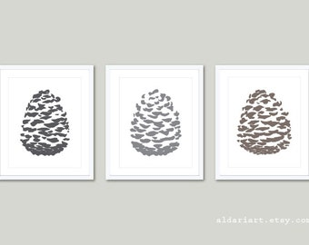 Pine Cone Art Prints / Pinecones Wall Art /  Pine Cone Prints / Pine cone Poster  / Pine Cone Woodland Decor / Aldari Art