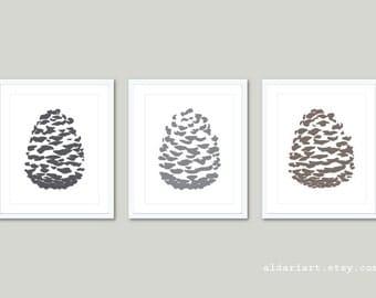 Pine Cone Art Prints / Pinecones Wall Art /  Pine Cone Prints / Pine cone Poster  / Pine Cone Woodland Decor / Aldari Art