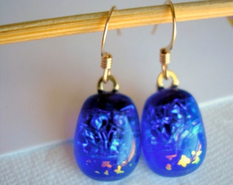 Dichroic Glass Earrings Deep Blue with Stars Gold Fused Glass Jewelry Dark Blue Earrings Blue Jewelry Star Earrings  Sparkle Glass Boho
