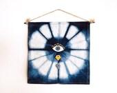 Indigo-Dyed Evil Eye and Diamond Wall Hanging