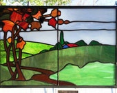 "Wooded Landscape Panel Custom--11"" x 16.5"" -  Stained Glass Window"