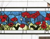 """Red Oriental Poppy-- 28"""" x 8.5""""--Stained Glass Panel"""