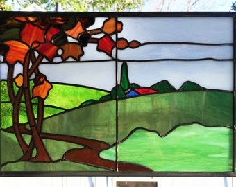 """Wooded Landscape Panel --11"""" x 16.5"""" -  Stained Glass Window"""