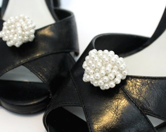 Bridal Shoe Clips - White Vintage Beaded Pearl Clusters. Shoe Accessories.