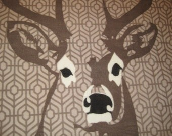 Deer with Black Handmade Fleece Blanket - Ready to Ship Now
