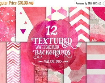 80% OFF SALE Digital Paper Pack - Watercolor Valentines Day Hearts, 12 x 12 for Background, Scrapbooking, Instant download