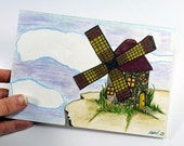 Original Mixed Media Painting - Windmill