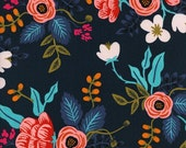 Navy Pink and Aqua Floral Rayon Challis, Les Fleurs By Rifle Paper Co for Cotton and Steel, Birch Floral in Navy, 1 Yard