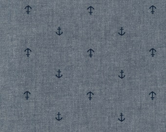 Indigo Mini Anchor Chambray, Robert Kaufman American Minis-Chambray Union Collection