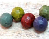 Reserved For Gail - 5 big Artisan Beads for jewelry making, (Hollow Polymer Clay Beads) + 10 small handmade beads for earings