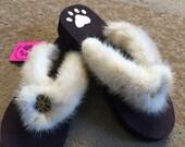 GENUINE MINK Fur Flip Flops / Sandals / Slippers Size S (5/6)