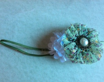 Green floral headband, girls headband, infant headband, baby headband, photo prop, baby shower gift, baby gift, toddler headband, handmade