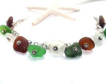 Sea Glass Bracelet - Multi Colored Bracelet -  Lake Erie Beach Glass Jewelry
