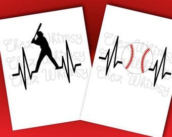 Baseball SVG, Heartbeat SVG, Heartbeat Cutting File, Baseball Player Svg, Cut Files