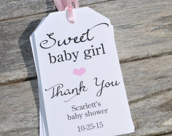 Baby Shower Favor Tags (Sweet Baby Girl) - Thank You Tags - Girls Baby Shower Thank You Tags - Set of 12
