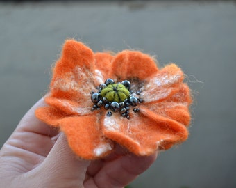 Orange Poppy Wool Felted Flower Pin, Opium Poppy, Whimsical Flower Brooch, Floral Statement Accessory, Poppy Pin Brooch, Corsage Brooch