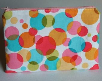 Zipper Pouch, Bubble Print, Teal, Yellow, Pink, Organizer, Teens, Kids, Women, Travel, Spring Gift, Pencil Case, Summer, Gift for Teacher