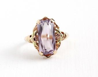 Vintage 10k Rosy Yellow Gold Rose De France Amethyst Ring - Art Deco Size 8 1/2 Flower Two Tone Light Purple Gem Statement Fine Jewelry