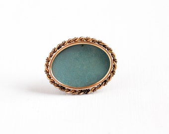 Antique 10k Rose Gold Filled Oval Photographic Pin - Vintage Edwardian 1910 Photo Blue Backing Lucite Cover Add Your Picture Brooch Jewelry
