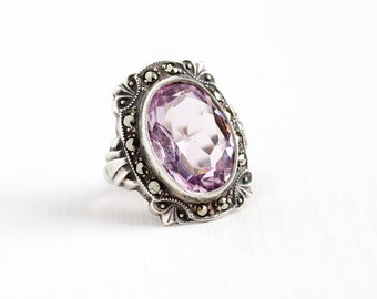 Sale - Vintage Art Deco Sterling Silver Purple Glass Stone Marcasite Ring - 1930s Size 3 1/4 Oval Simulated Amethyst Statement Uncas Jewelry