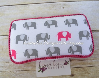 Elephants in Gray and Hot Pink, Travel Wipe Case, Baby Wipe Case, Personalized Wipe Case, Diaper Wipes Case, Wetwipe Case, Baby Wipe Holder