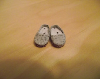 Grey concrete design slip on flats shoes for Pullip / obitsu