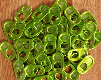 50 Lime Green Monster Tabs Energy Drink Aluminum Pull Tabs Pop Can Soda Tops Colored Colors