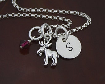 My Petite Moose Necklace   Sterling Silver Canadian Mouse Jewelry