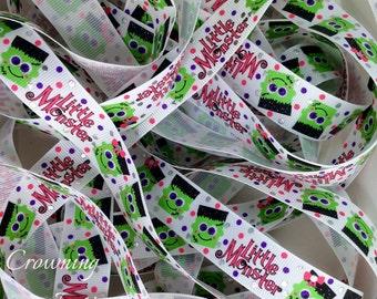 7/8 Halloween Little Monsters Frankenstein US Designer ribbon