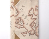 canvas wallet with africa europe map hand drawn rustic rugged