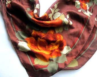 Bronze Silk Scarf roses Jones of NY brown gold  orange pumpkin