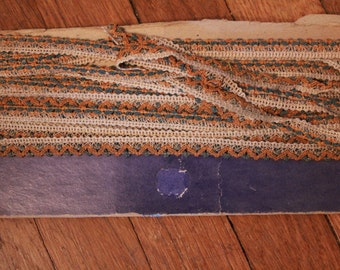 Amazing Antique Ecru Lace with Rust Orange and Blue Chenille Trim Victorian