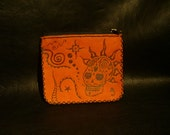 "Handmade Red Leather Coin Purse.""Mexican Punkalavera"""
