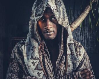 Tribal Warrior Sequin Hood- Reversible- Multiple Colors- Men's Egyptian Burning Man Festival Hood Costume