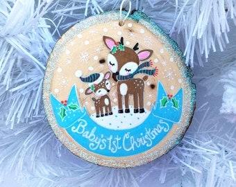 Baby's 1st Christmas, Baby's Christmas Ornament,Gifts for Baby,Reindeer Ornament,Deer Ornament,Woodland Ornament,Woodland Christmas