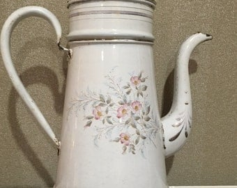 Antique French Country Graniteware Enamelware, White with Pastel Flowers, Coffeepot Biggin