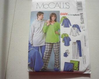 Pattern Ladies or Men Sleep or Lounge Wear Sizes XS to Med McCalls 4675