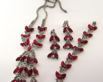 Vintage Red and White Crystal Aurora Borealis Rhinestone Necklace with matching clip on Earrings and Bracelet Jewelry