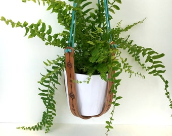 Handmade Leather Plant Hanger Hand Stamped