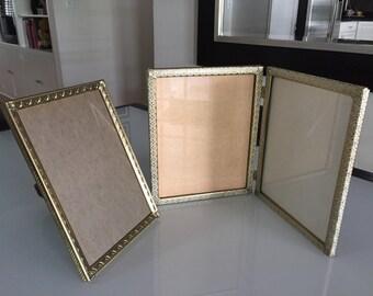 Brass Picture Frame/PAIR/ Brass Whitewash Filigree Frame/Gold Filigree Frame/Hollywood Regency/ 8 x 10 Frame/ By Gatormom13