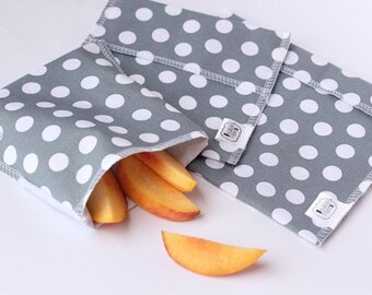 Reusable Ecofriendly Sandwich Bag and Snack Bags - Grey Dots - set of 3