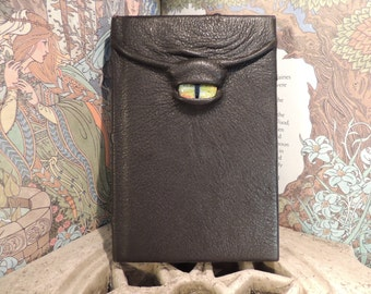 Mythical Beast Book (The Watchful Eye:Black leather with Sparkling Yellow  eye)
