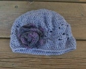 Baby Crochet Hat Gray Beanie with purple dark gray flower