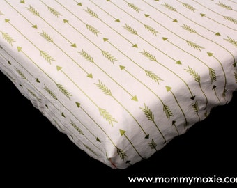 Metallic Gold Arrows on Blush Pink Changing Pad Cover - Nursery Bedding for the Modern Adventurer Warrior Princess - by Mommy Moxie on Etsy