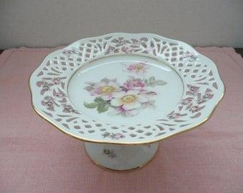 "Schumann Arzberg Germany Pattern ""Rosedale"" Reticulated Gilt Edge Porcelain Rose Pattern Pedestal Candy Dish"