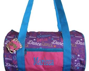 Personalized Multi-Color Fun Print Dance Duffel Free Shipping