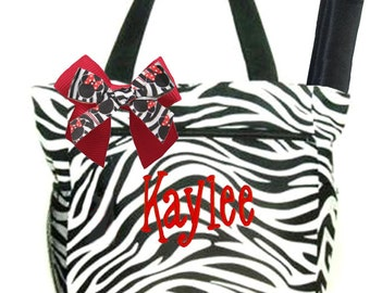 Personalized Black & White Zebra Pattern with Red Accents Diaper Bag Free Shipping