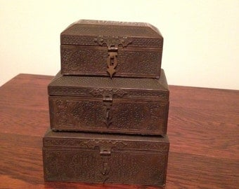 Trio of vintage Turkish brass boxes