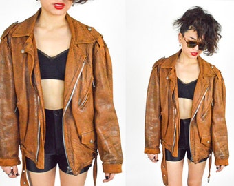 1980's 1990's Jacques Vincent Pour JAPA TAN LEATHER Moto Motorcycle JacketCropped Coat. Softest Leather Slouchy. Japa Made in France