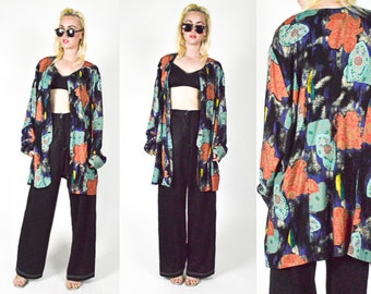 80's 90's ABSTRACT FLORAL Pattern Duster Coat. Long sleeves. Multi Color. Oversized. 90's Grunge Mod.